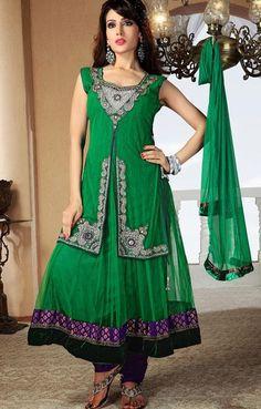 $161 Green Stone Work Net Anarkali Salwar Suit 25333