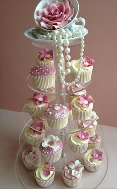 Cupcakes on stand and pearls
