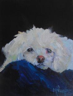 Pet Portrait, Dog Painting, Small Oil Paint, Daily Painting, 6x8 Oil Painting SOLD, painting by artist Carol Schiff