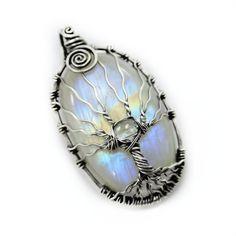 Rainbow moonstone tree of life pendant by DreamingTreesJewelry