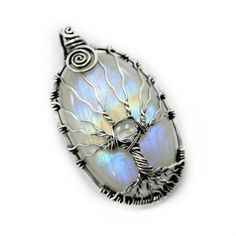 Rainbow moonstone tree of life pendant by DreamingTreesJewelry