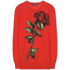 Dolce & Gabbana Cashmere Sweater With Printed Appliqué (1,330 CAD) ❤ liked on Polyvore featuring tops, sweaters, red, red cashmere sweater, cashmere sweater, dolce gabbana sweaters, red top and red sweater