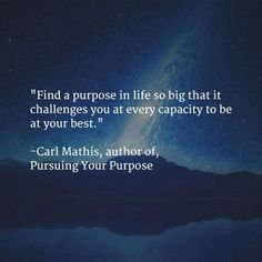 """""""Find a purpose in life so big that it challenges you at every capacity to be at your best"""""""