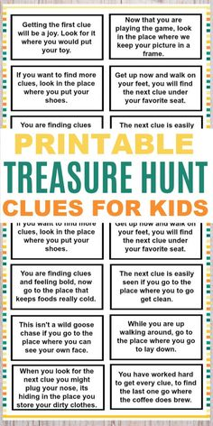 These printable treasure hunt clues for kids are a fun and easy kids activity. T… These printable treasure hunt clues for kids are a fun and easy kids activity. The clues are great for any family to use for a fun family activity. Kids Scavenger Hunt Clues, Easter Scavenger Hunt, Christmas Scavenger Hunt, Scavenger Hunt Birthday, Treasure Hunt Birthday, Clues For Treasure Hunt, Pirate Treasure Hunt For Kids, Treasure Hunting, Treasure Hunt Riddles
