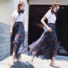 2017 새로운 여름 여성의 조각은 얇은 쉬폰 꽃 드레스 새로운 도착 스트랩 드레스 스커트 정장이었다