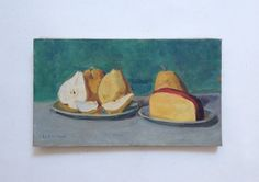 Original Oil Painting by Hervé LE BOURDELLÈS - Pears and Dutch Cheese - Still Life - Twentieth Century. Oil on canvas signed lower right,