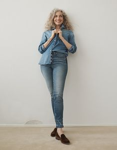 9dea03837a892d madewell slim straight jeans worn with denim oversized ex-boyfriend shirt +  the frances loafer