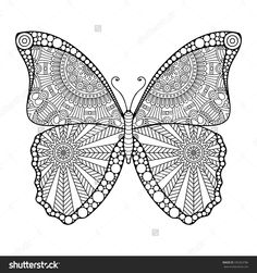 Butterfly. Vintage decorative elements with mandalas. Oriental pattern, vector illustration.  Islam, Arabic, Indian, turkish, pakistan, chinese, ottoman motifs