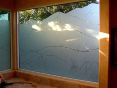 Mountains Pinstripe III - frosted glass window desert landscape mountains by Sans Soucie Art Glass.