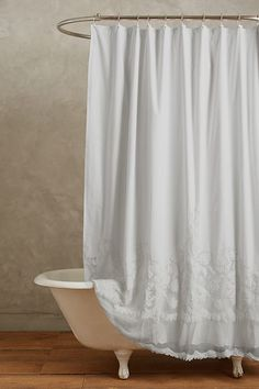 Sewing Curtains Slide View: Caprice Shower Curtain - This stunning curtain - from interior design favorite Pom Pom at Home - features ornate embroidery and classically feminine cotton lace. Lace Shower Curtains, Shabby Chic Shower Curtain, Farmhouse Shower Curtain, Bathroom Shower Curtains, Shower Curtain White, White Shower, Bathroom Laundry, Long Curtains, Brown Bathroom