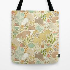 Animal's Tea Party Tote Bag