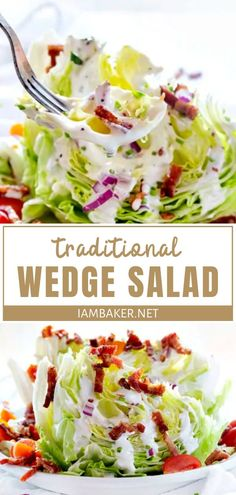 Impress your mom with a traditional homemade food this Mother's Day! Wedge Salad is light and refreshing, topped with bacon, tomatoes, and homemade croutons. An easy recipe you can serve for lunch or dinner on Mother's Day! Pin this for later! Wedge Salad Recipes, Lettuce Salad Recipes, Easy Salads, Healthy Salad Recipes, Pasta Recipes, Lettuce Wedge Salad, Soup And Salad, Pasta Salad, Chicken Salad