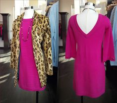 11/25: Brrr-rave the cold in this Beth Bowley sweater dress & jaguar coat. The rich brown animal print finds its perfect complement in this bright fuchsia (a color which will look very familiar to anyone who has been inside the walls of our store before...). And when you're ready to un-bundle and cozy up by the fireplace with turkey leftovers, this clever V-cut back will keep you from overheating!
