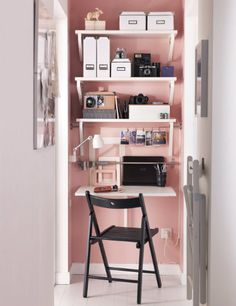 The NORBERG wall-mounted drop-leaf table becomes a practical desk.  What a great solution for a closet-sized office!