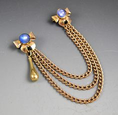 Double Pin Vintage Gold Tone Bow Lapel Pins Blue Glass With