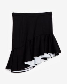 torn by ronny kobo Asymmetrical Contrast Ruffle Hem Skirt