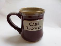 Cat Lover Coffee Tea Mug X-Large Burgundy Cream/Tan Colors Tumbleweed Pottery