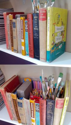 Did the book box from my board Craft Ideas! I used a wipes box and just hot glued the book spines to it (plus whole books on each end). It looks great on my bookshelf and it gives me extra art supply storage.