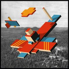 """""""Reconnaissance Drone Malevich Ma-9 Acquiring Target"""" Cut-paper collage on found image. 11.5"""" x 11.5"""""""