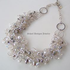 Gray Pearl & AB Quartz  & Swarovski Crystal multi chain Sterling Silver Necklace   Online upscale artisan handcrafted jewelry boutique    Schaef Designs Pearl Jewelry   San Diego, CA