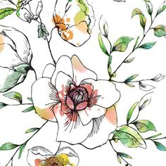 print & pattern: STUDENT WORK - graduates from the art & business of surface design Watercolor And Ink, Watercolor Illustration, Watercolor Flowers, Pattern Illustration, Textile Pattern Design, Surface Pattern Design, Pattern Designs, Pattern Art, Textiles