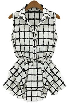 Black White Plaid Sleeveless Bandeau Ruffles Blouse US$29.30