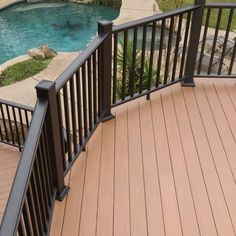 Deck railing isn't simply a safety feature. It can include a sensational aesthetic to frame a decked location or veranda. These 36 deck railing ideas show you exactly how it's done! Deck Railing Design, Deck Railings, Patio Design, Railing Ideas, Fence Ideas, Deck Colors, Deck Makeover, Deck Lighting, Outdoor Living
