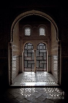 Light pattern thru' window at de Alhambra Palace, Granada, Andalusia_ Spain