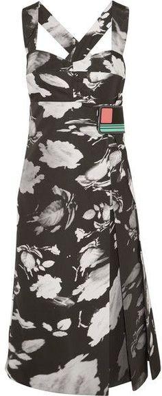 Prada - Wrap-effect Printed Satin-twill Midi Dress - Black
