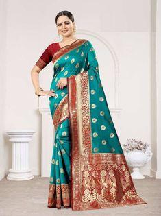 Green Colour Banarasi Silk Saree With Blouse Banarasi Sarees, Silk Sarees, Indian Fashion, Womens Fashion, Saree Styles, Indian Designer Wear, Saree Blouse Designs, Saree Collection, Saree Wedding