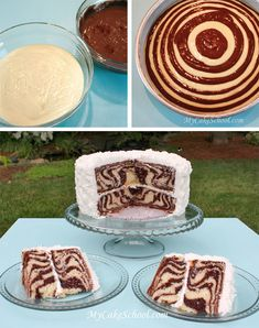 "This zebra cake looks amazing...Start w/2 bowls of batter, vanilla and chocolate. Then take 1/4 c vanilla batter into middle of 8"" pan; allow it to spread. Measure 1/4 c chocolate batter and pour onto middle of vanilla batter. Basically you just repeat this process of alternating flavors! Easy enough right?"