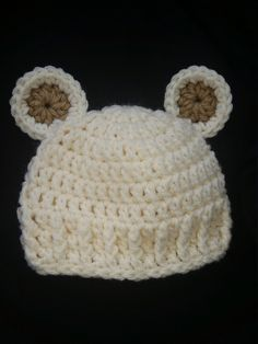 Crochet Baby Teddy Bear Hat, Gender Neutral, Beanie, Toddler, Infant, Boy, Girl, Unisex, Winter, Ivory, Brown by SnapdragonBoutique15 on Etsy