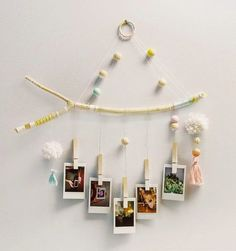 This tree branch photograph hanger is entirely hand crafted using hand painted wooden beads, pom poms and tassels. Six strands of sturdy nylon strings Photo Wall Hanging, Diy Hanging, Diy Photo, Home Crafts, Diy And Crafts, Blog Deco, Home Decor Trends, Wooden Beads, Tree Branches