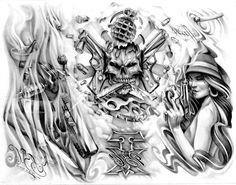 gansta skulls | Gangster Tattoos Drawings Gangster skull tattoos designs