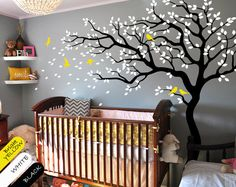Tree wall decal huge tree wall decals nursery wall decor wall mural kids room wall decoration with cute birds and leaves - 047