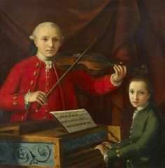 """shatovthings: """" """"Said to be a portrait of Leopold and Wolfgang Mozart (Austrian School, """" Image credits: Royal College of Music """" Music Love, My Music, Prince Edward Theatre, Brass Music, Classical Music Composers, Amadeus Mozart, Child Prodigy, German Boys, London Tours"""