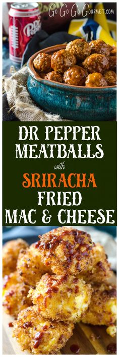 Dr Pepper Crockpot Meatballs with Sriracha Fried Mac & Cheese Bites via @gogogogourmet #CollegeFootballChampSweeps #ad