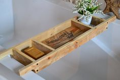 Bath Tray/Made to Order/Recycled Pallet Wood/Rustic Style Bath Rack/Old World Writing/Natural Wood Bath Caddy