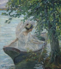 """""""An afternoon at the lake"""" Edward Cucuel Aesthetic Painting, Aesthetic Art, Old Paintings, Beautiful Paintings, Art Hoe, Renaissance Art, Pretty Art, Art Journals, Art Inspo"""