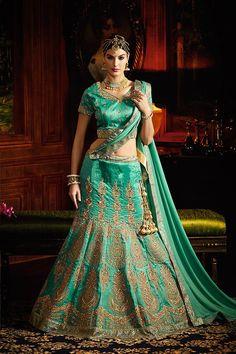 Honey Green Color Malborn Silk Fabric Lehenga Choli
