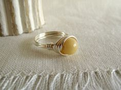Butter Yellow Jade Ring 8mm silver wire wrapped by theknottedgem