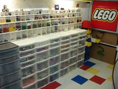 LEGO storage room - one can dream, right? Lego Storage, Storage Boxes, Storage Room, Lego Bedroom, Lego For Kids, Organisation Hacks, Lego Toys, Lego Creations, Kid Spaces