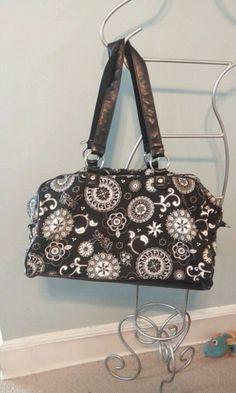 Thirty-One Weekender Bag Duffle Zip up- Black Floral  ***Retired*** HTF #ThirtyOne