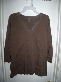 Talbots Woman Brown 3/4 Sleeve Embroidered Beaded Beads V-Neck Top Size 1X #Talbots #Embroidered
