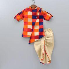 Pre Order: Asymmetric Kurta And Dhoti Set Ethnic Wear For Boys, Kids Indian Wear, Kids Wear Boys, Baby Boy Dress, Baby Boy Outfits, Kids Outfits, Baby Dress Design, Baby Girl Dress Patterns, Boys Clothes Style