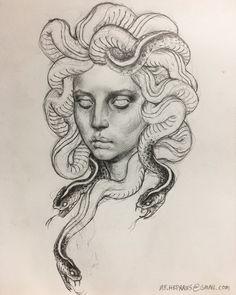 """That's what they call me"" Medusa Drawing, Medusa Art, Medusa Painting, Greek Mythology Tattoos, Greek Mythology Art, Roman Mythology, Pencil Art Drawings, Tattoo Drawings, Art Sketches"
