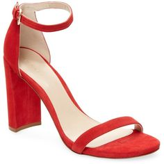 Stuart Weitzman Women's Walkway Suede Sandal - Red, Size 10 ($199) ❤ liked on Polyvore featuring shoes, sandals, red, red sandals, red high heel sandals, red high heel shoes, heeled sandals and stuart weitzman shoes