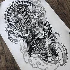 Half Sleeve Tattoos Sketches, Half Sleeve Tattoos For Guys, Tattoo Sleeve Designs, Tattoo Sketches, Egyptian Eye Tattoos, Egyptian Tattoo Sleeve, Horus Tattoo, Anubis Tattoo, Black Tattoos