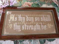 NansCottageVintage on Etsy - Antique Sampler, tapestry, embroidered picture, religious sampler, bible quote, embroidered lettering, bible principle, Deuteronomy 33:25 by NansCottageVintage on Etsy