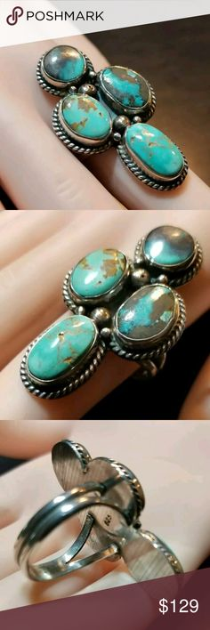 Turquoise Sterling Silver Ring Sz 8 Signed Beautiful turquoise stones hand set in sterling silver. Size 8. Signed 925 Jewelry Rings